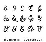 set of ampersand with swirls on ... | Shutterstock .eps vector #1065855824