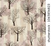 seamless pattern with old trees.... | Shutterstock .eps vector #1065856823