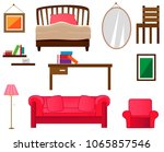 a set of furniture and interior.... | Shutterstock .eps vector #1065857546