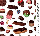 collection of chocolate sweets. ... | Shutterstock .eps vector #1065858338