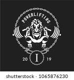 powerlifting barbell squat | Shutterstock .eps vector #1065876230