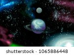 open space  planet and galaxies | Shutterstock . vector #1065886448