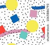 memphis pattern of geometric... | Shutterstock .eps vector #1065886793