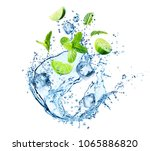 water splash with mint leaves ... | Shutterstock . vector #1065886820