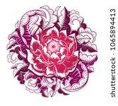 vector gradient rose flower... | Shutterstock .eps vector #1065894413