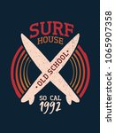 surf club stamp art with grunge ... | Shutterstock .eps vector #1065907358