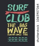surf club typography stamp with ... | Shutterstock .eps vector #1065907364