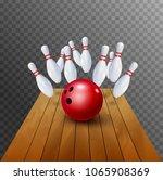 bowling strike realistic... | Shutterstock .eps vector #1065908369