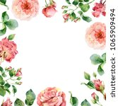 card design with red roses.... | Shutterstock . vector #1065909494