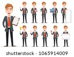 business man with blond hair ... | Shutterstock .eps vector #1065914009