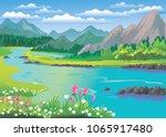 landscape land sky clouds... | Shutterstock .eps vector #1065917480