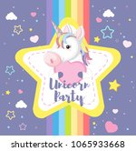 a cute unicorn with rainbow... | Shutterstock .eps vector #1065933668