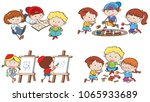 kids are doing different... | Shutterstock .eps vector #1065933689
