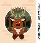 deer cute animal card | Shutterstock .eps vector #1065954860