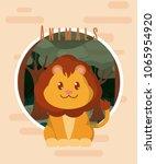 lion cute animal card | Shutterstock .eps vector #1065954920