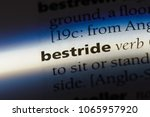 Small photo of bestride word in a dictionary. bestride concept.