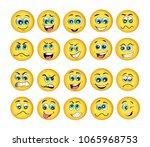 vector emoticons emoji set.... | Shutterstock .eps vector #1065968753
