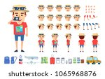 tourist  traveler creation kit. ... | Shutterstock .eps vector #1065968876