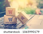 online shopping   ecommerce and ... | Shutterstock . vector #1065990179