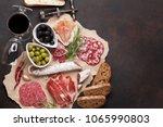 salami  sliced ham  sausage ... | Shutterstock . vector #1065990803
