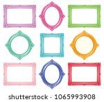 set of colorful antique frames. | Shutterstock .eps vector #1065993908