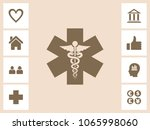 caduceus icon with bonus icons. ... | Shutterstock .eps vector #1065998060
