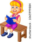 funny girl cartoon sitting with ... | Shutterstock .eps vector #1065999884