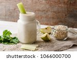 smoothies with oat flakes ... | Shutterstock . vector #1066000700