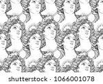 seamless pattern with goddess...   Shutterstock .eps vector #1066001078