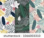 set of three seamless floral... | Shutterstock .eps vector #1066003310