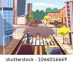 pedestrians on crossroad vector ...   Shutterstock .eps vector #1066016669