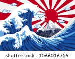 Sea Wave With Mount Fuji And...