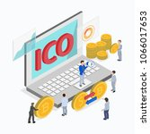 initial coin offering  rais... | Shutterstock .eps vector #1066017653