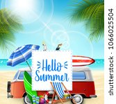 hello summer banner background... | Shutterstock .eps vector #1066025504