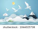 paper art seagull fly above the ... | Shutterstock .eps vector #1066025738