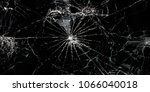 3d effect glass broken in black ... | Shutterstock . vector #1066040018