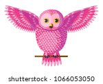 Funny Curious Pink Owl Sitting...