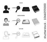 a translator in headphones  a... | Shutterstock .eps vector #1066055000