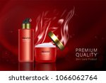 red cosmetic containers with...   Shutterstock .eps vector #1066062764