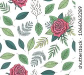 red roses and green leaves... | Shutterstock . vector #1066063289