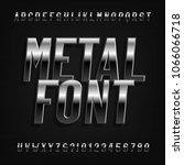 metal effect alphabet font.... | Shutterstock .eps vector #1066066718