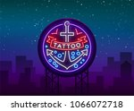 tattoo salon logo in a neon... | Shutterstock .eps vector #1066072718