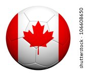 Canada Flag Pattern 3d rendering of a soccer ball - stock photo