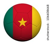 Cameroon Flag Pattern 3d rendering of a soccer ball - stock photo
