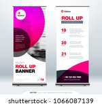 roll up banner stand...   Shutterstock .eps vector #1066087139