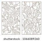 set of contour stained glass... | Shutterstock .eps vector #1066089260