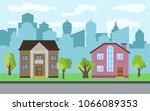 vector city with two two story...   Shutterstock .eps vector #1066089353