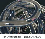 cars at the traffic junction ... | Shutterstock . vector #1066097609