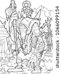 hand drawn shaman  cartoon... | Shutterstock .eps vector #1066099154