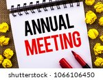 handwriting text annual meeting.... | Shutterstock . vector #1066106450
